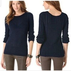 Rachel Zoe navy Karla open knit sweater size S